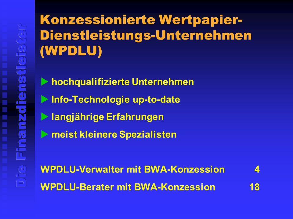 Konzessionierte Wertpapier-Dienstleistungs-Unternehmen (WPDLU)