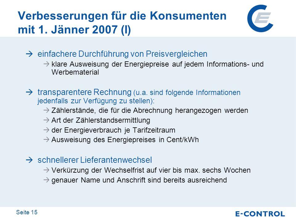 Verbesserungen für die Konsumenten mit 1. Jänner 2007 (I)