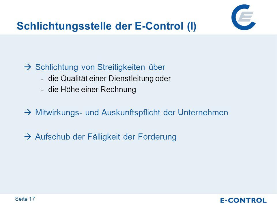 Schlichtungsstelle der E-Control (I)