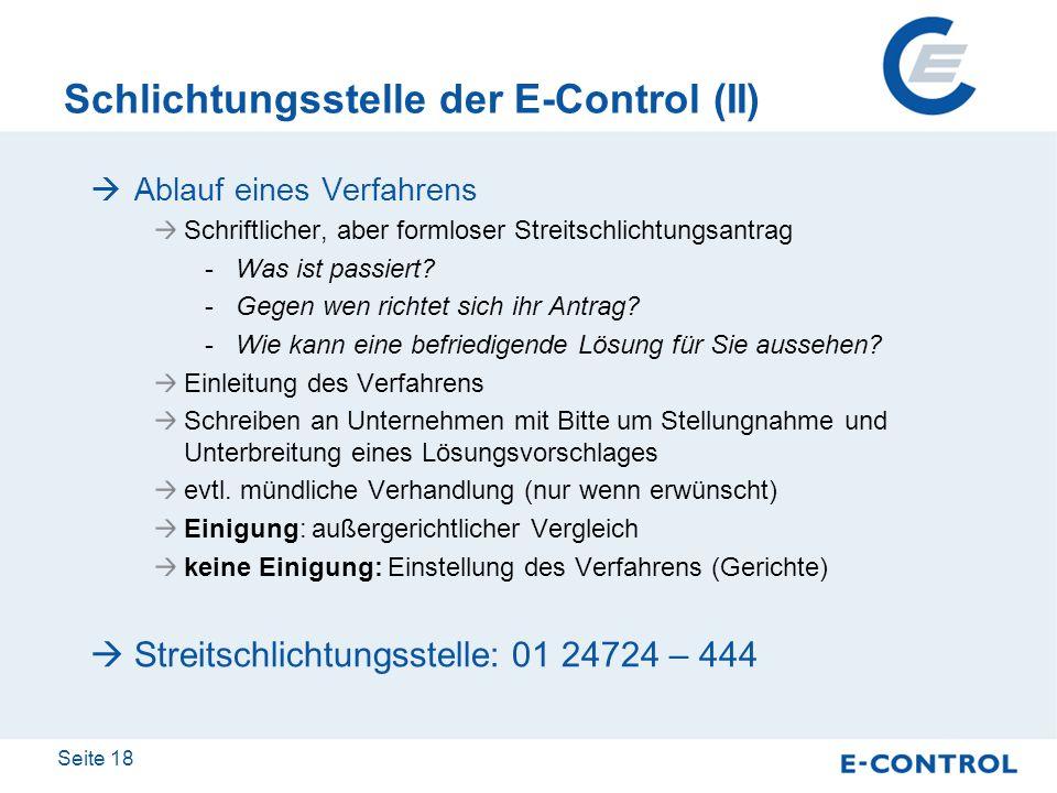 Schlichtungsstelle der E-Control (II)