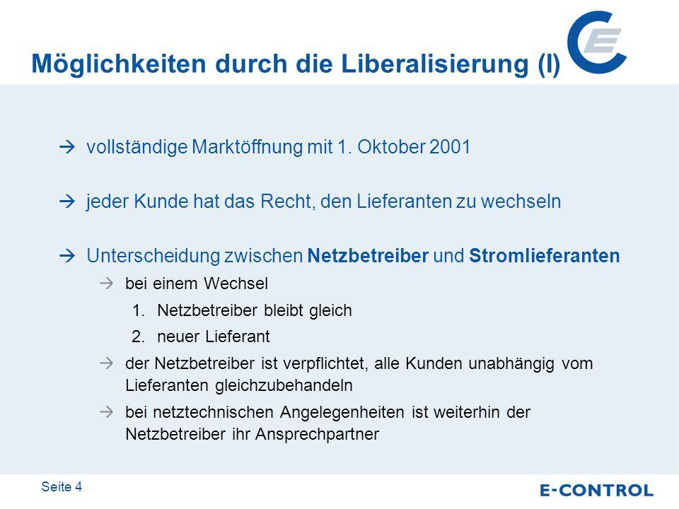 Möglichkeiten durch die Liberalisierung (I)