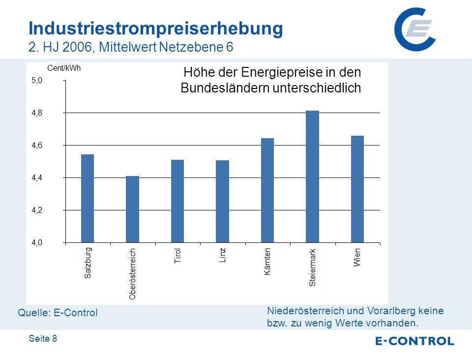 Industriestrompreiserhebung 2. HJ 2006, Mittelwert Netzebene 6