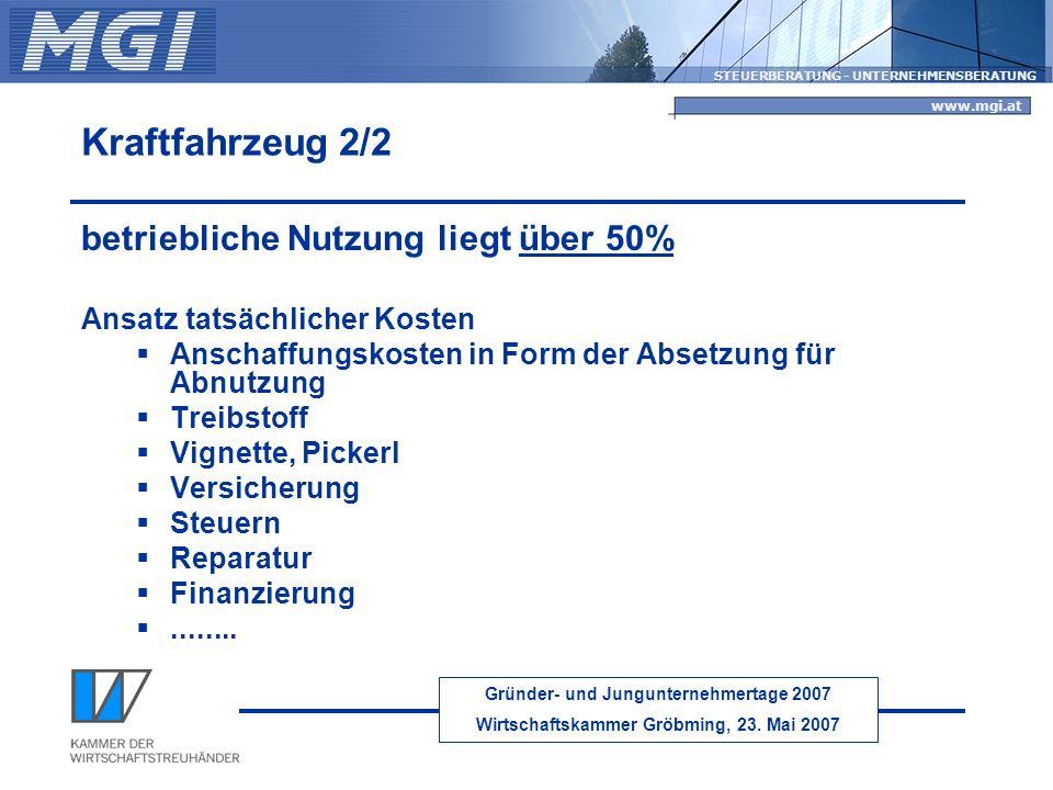 Kraftfahrzeug 2/2 betriebliche Nutzung liegt über 50%