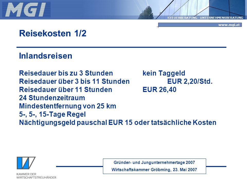 Reisekosten 1/2 Inlandsreisen Reisedauer bis zu 3 Stunden kein Taggeld