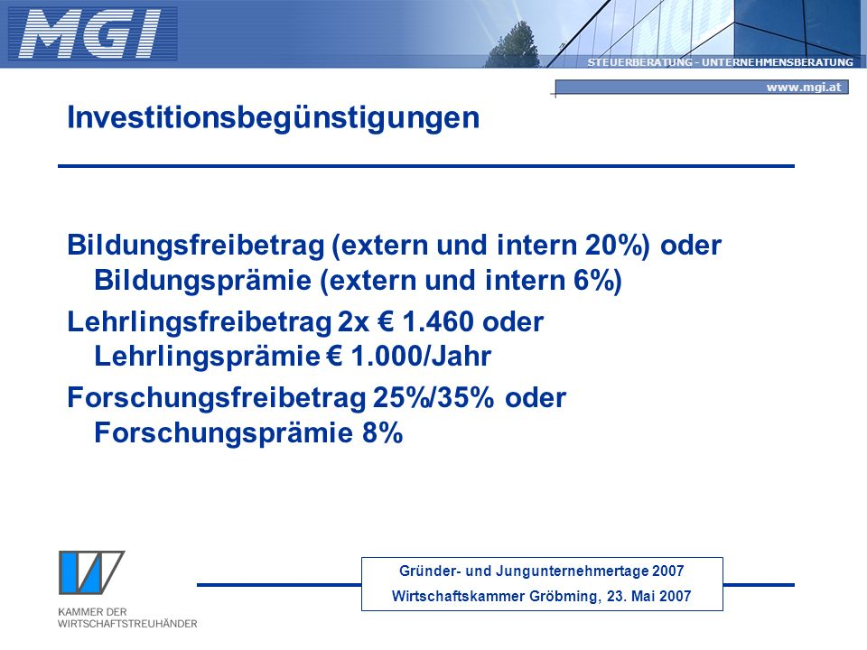 Investitionsbegünstigungen