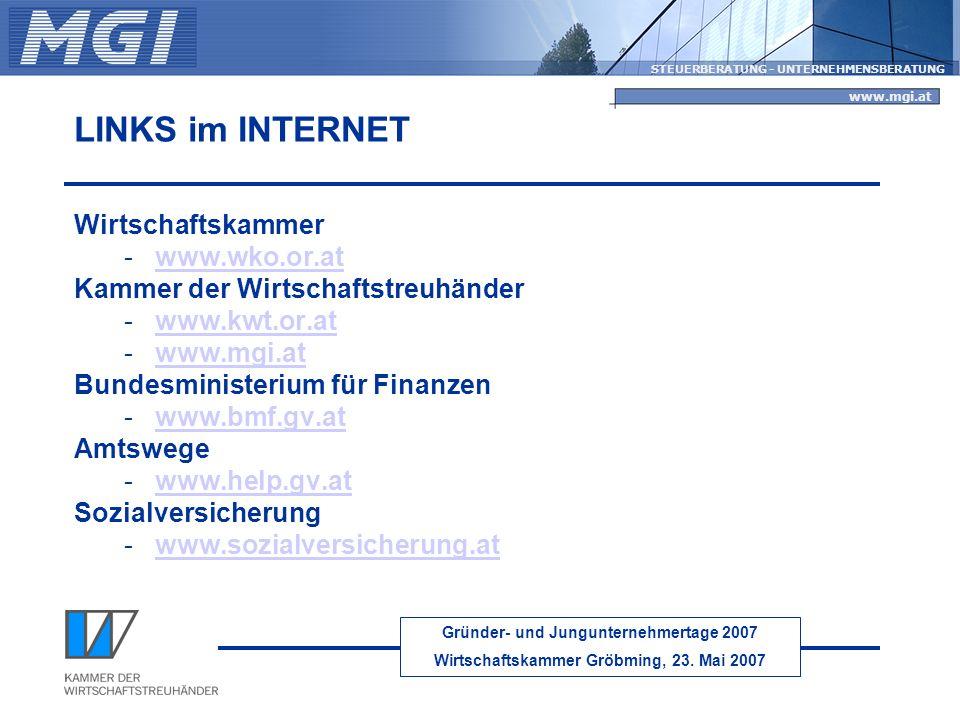 LINKS im INTERNET Wirtschaftskammer www.wko.or.at