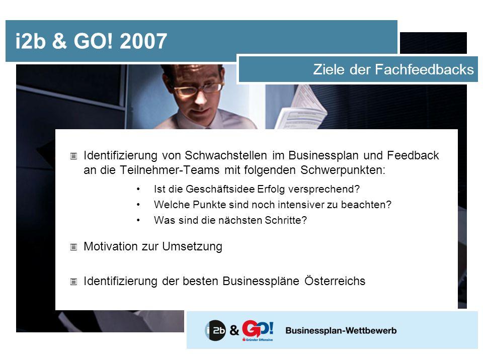 i2b & GO! 2007 Ziele der Fachfeedbacks