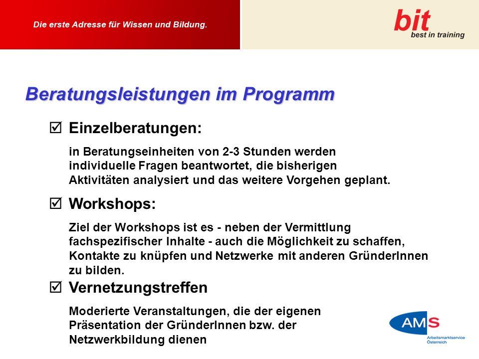 Beratungsleistungen im Programm