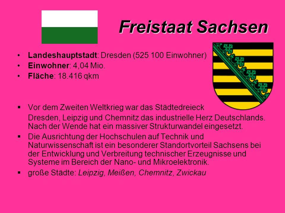 Freistaat Sachsen Landeshauptstadt: Dresden (525 100 Einwohner)