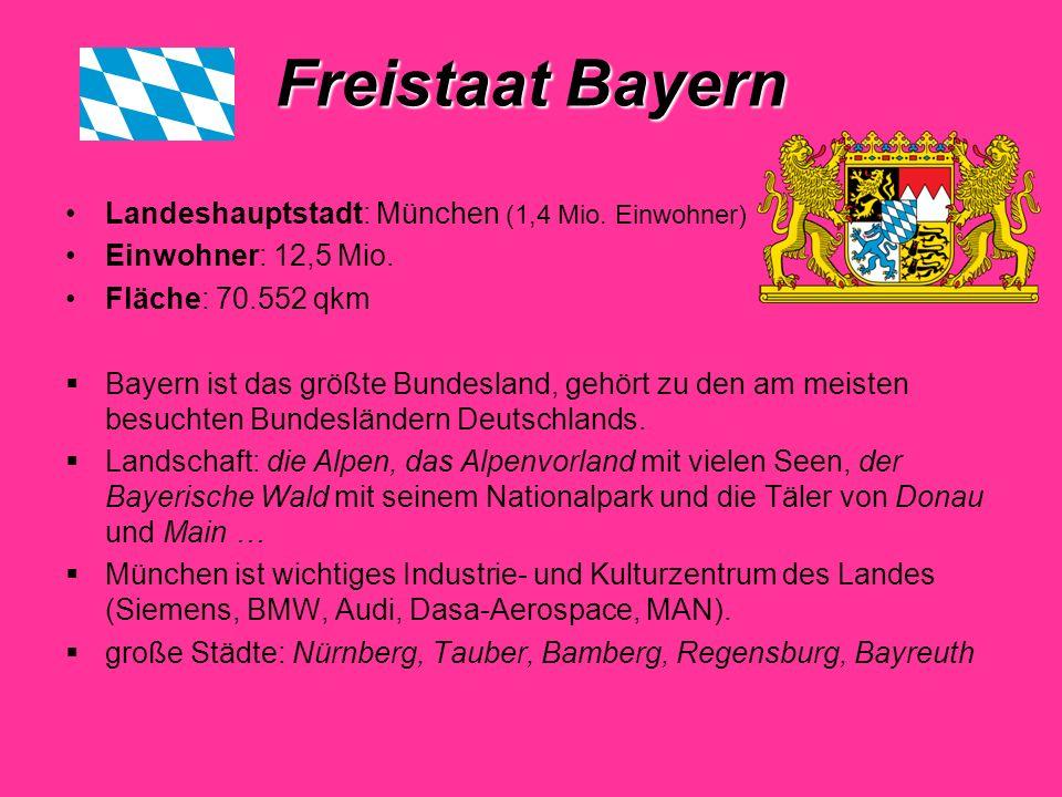 Freistaat Bayern Landeshauptstadt: München (1,4 Mio. Einwohner)