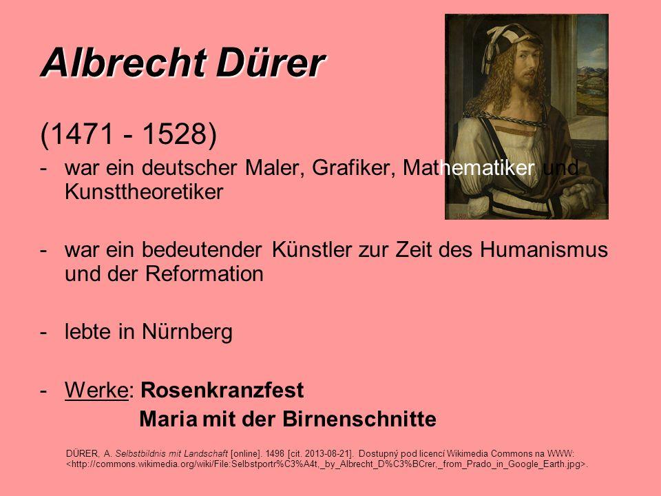 Albrecht Dürer (1471 - 1528) war ein deutscher Maler, Grafiker, Mathematiker und Kunsttheoretiker.