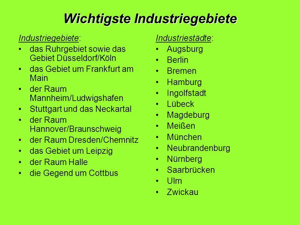 Wichtigste Industriegebiete