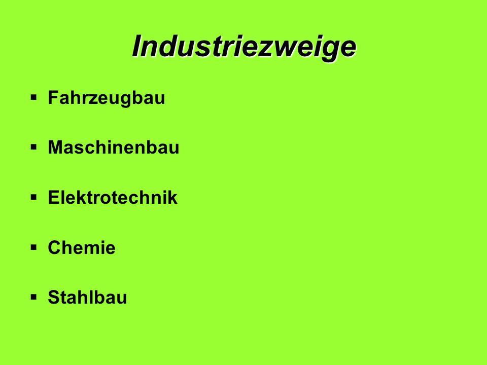 Industriezweige Fahrzeugbau Maschinenbau Elektrotechnik Chemie