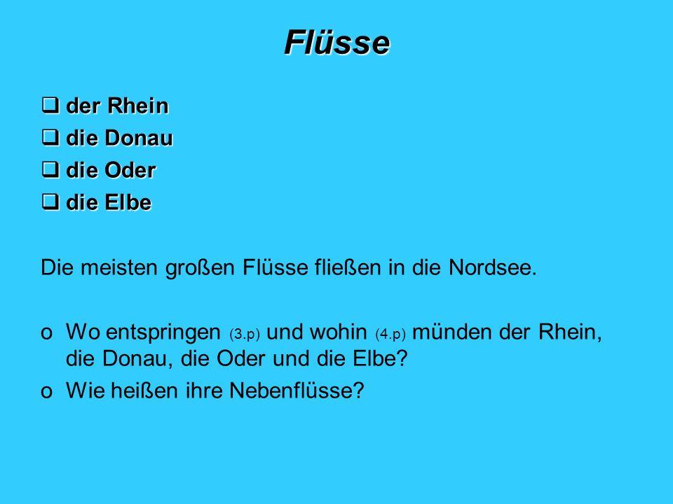 Flüsse der Rhein die Donau die Oder die Elbe