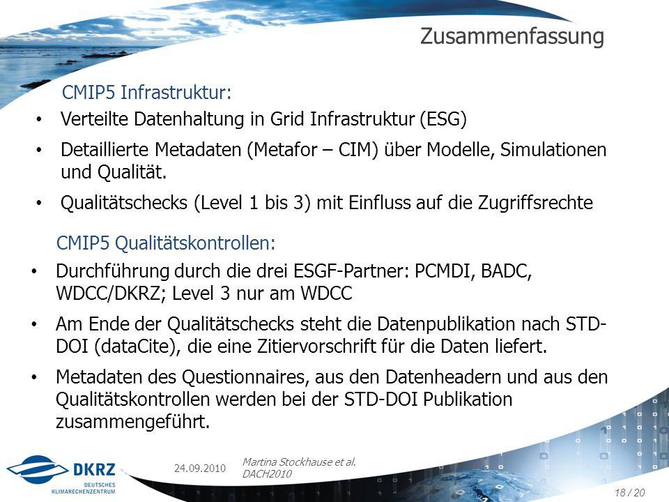 Zusammenfassung CMIP5 Infrastruktur: