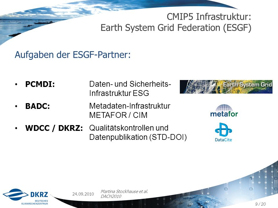 CMIP5 Infrastruktur: Earth System Grid Federation (ESGF)