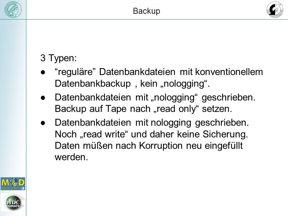 """Backup 3 Typen: reguläre Datenbankdateien mit konventionellem Datenbankbackup , kein """"nologging ."""