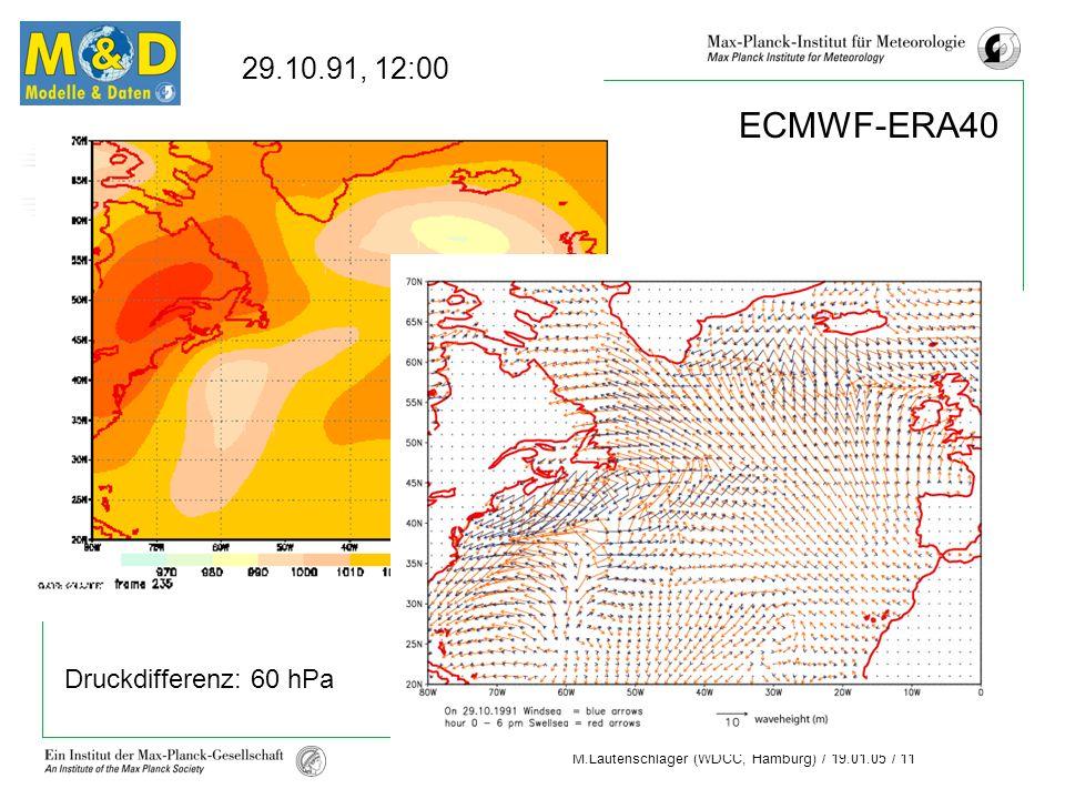 29.10.91, 12:00 ECMWF-ERA40 Druckdifferenz: 60 hPa