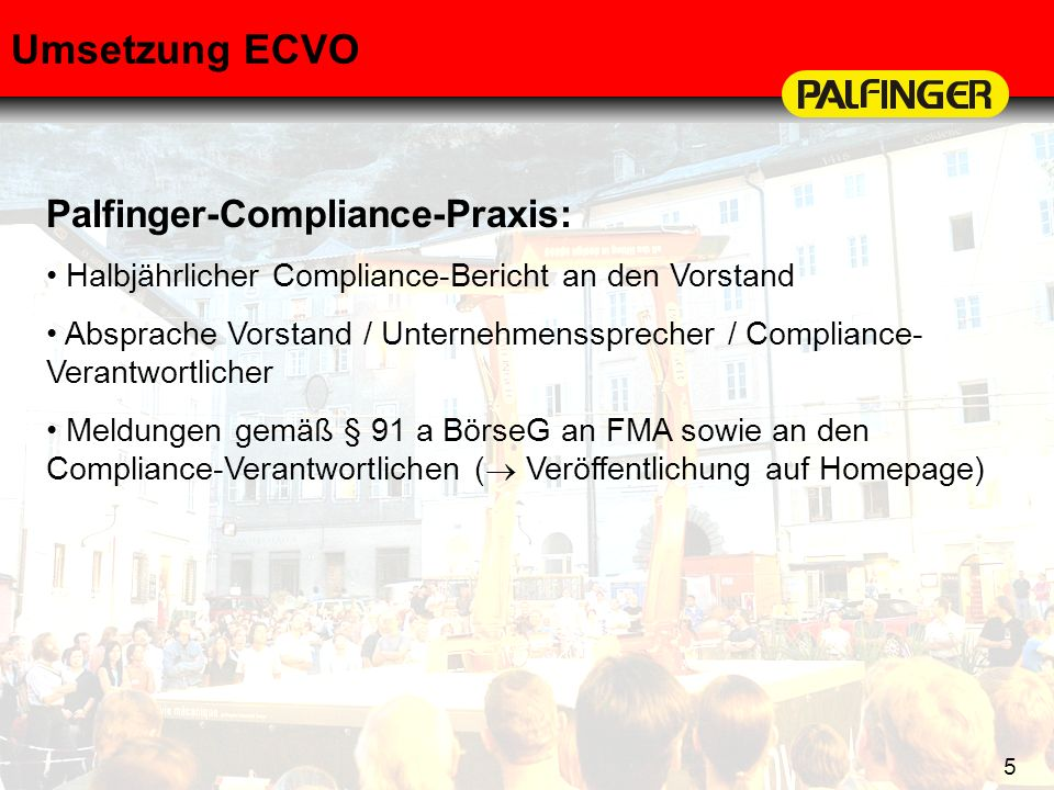 Umsetzung ECVO Palfinger-Compliance-Praxis: