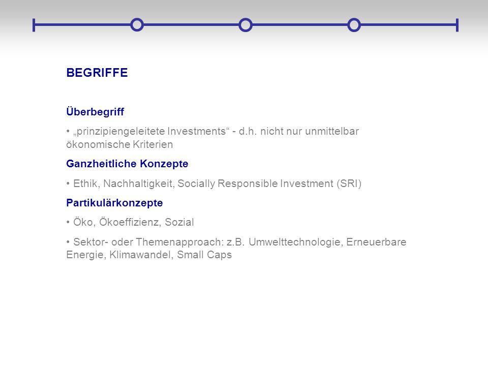 """BEGRIFFE Überbegriff. """"prinzipiengeleitete Investments - d.h. nicht nur unmittelbar ökonomische Kriterien."""