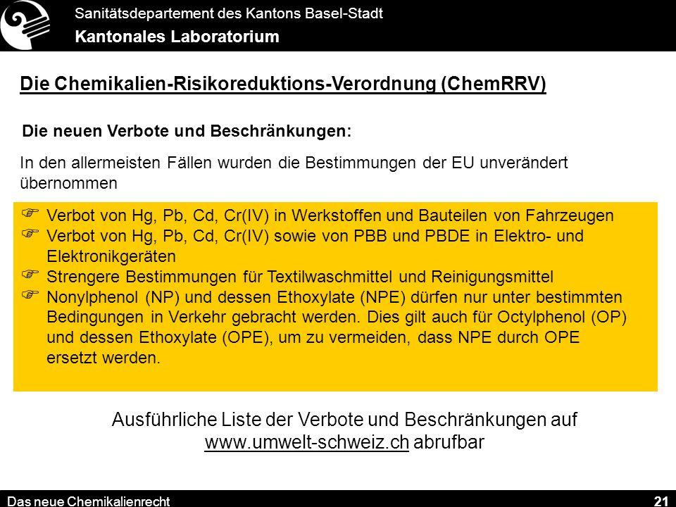 Die Chemikalien-Risikoreduktions-Verordnung (ChemRRV)