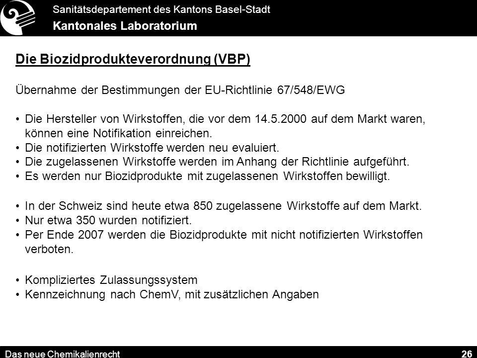 Die Biozidprodukteverordnung (VBP)