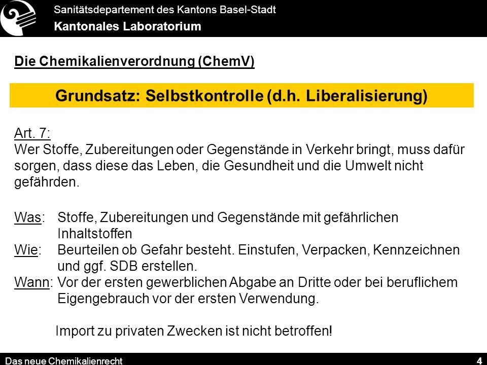 Grundsatz: Selbstkontrolle (d.h. Liberalisierung)