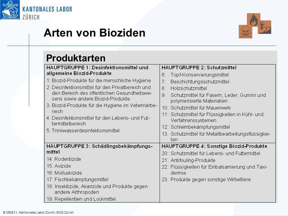 Arten von Bioziden Produktarten