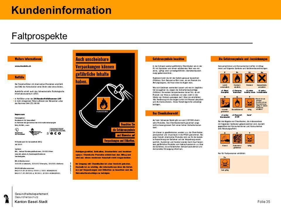 Kundeninformation Faltprospekte