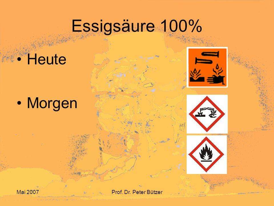 Essigsäure 100% Heute Morgen Mai 2007 Prof. Dr. Peter Bützer