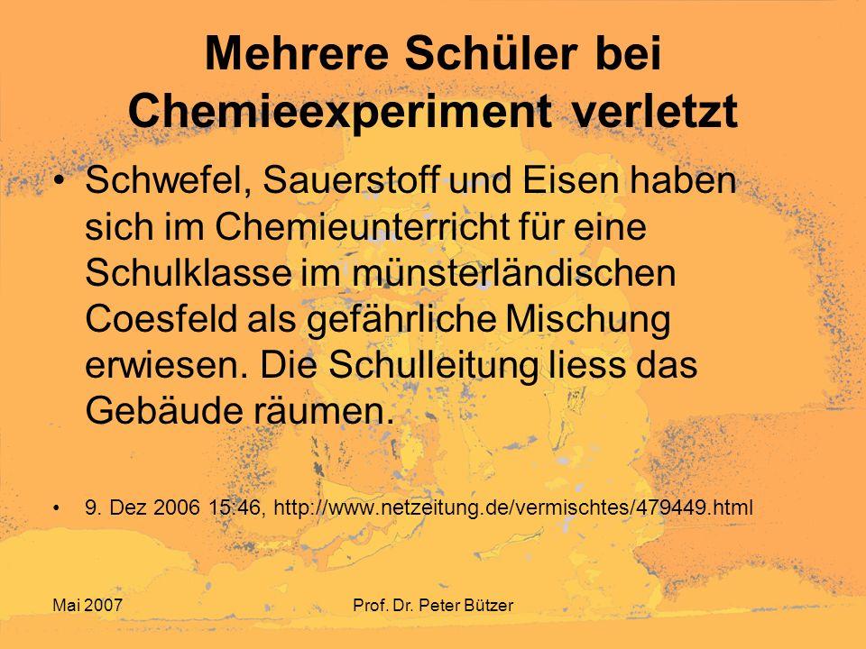 Mehrere Schüler bei Chemieexperiment verletzt