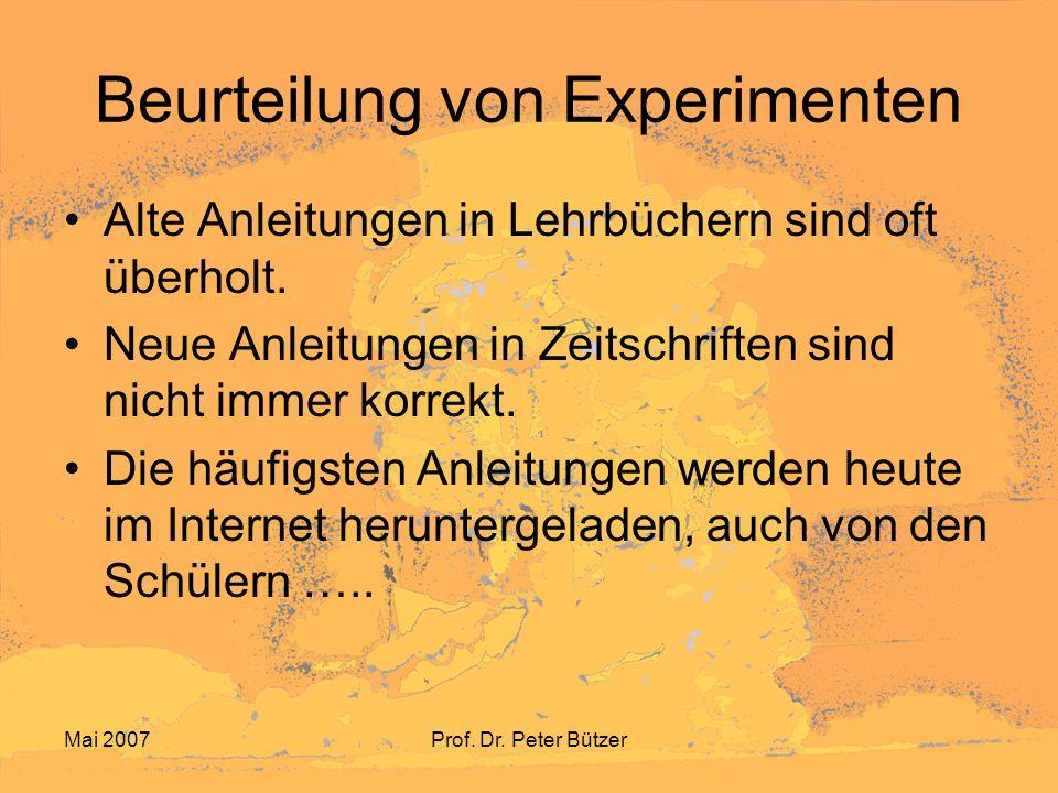 Beurteilung von Experimenten