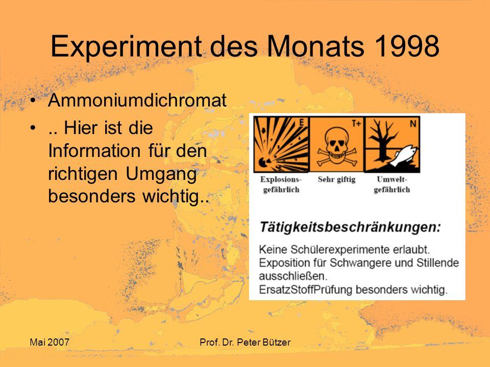 Experiment des Monats 1998 Ammoniumdichromat