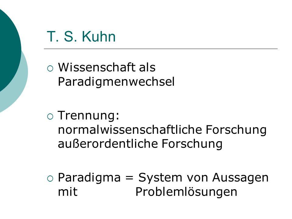 T. S. Kuhn Wissenschaft als Paradigmenwechsel