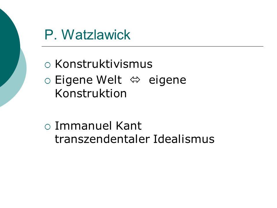 P. Watzlawick Konstruktivismus Eigene Welt  eigene Konstruktion