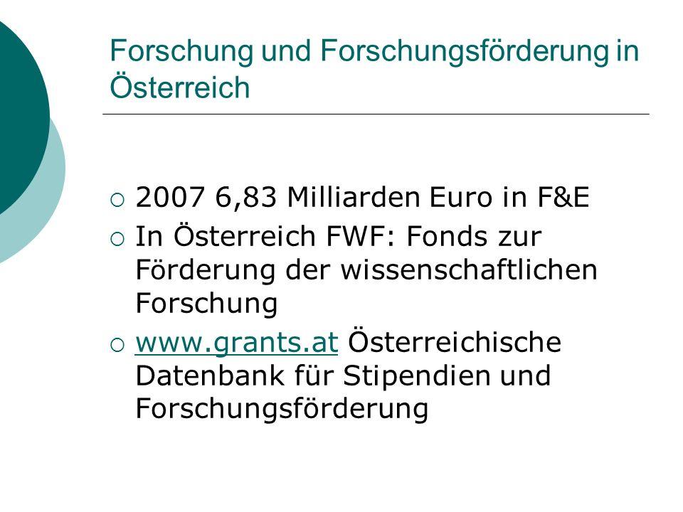 Forschung und Forschungsförderung in Österreich