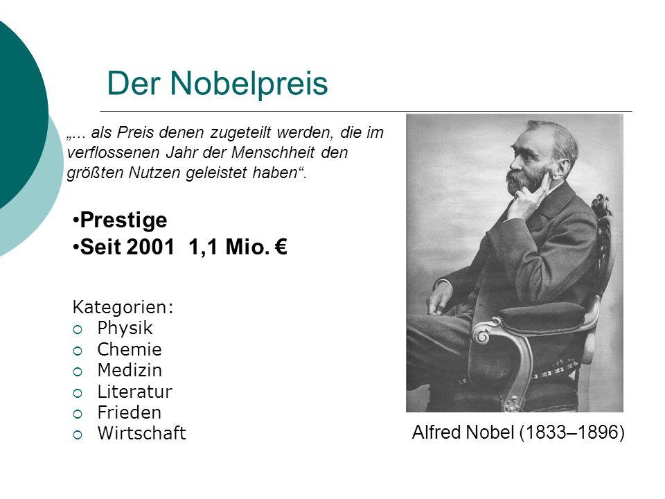 Der Nobelpreis Prestige Seit 2001 1,1 Mio. € Alfred Nobel (1833–1896)