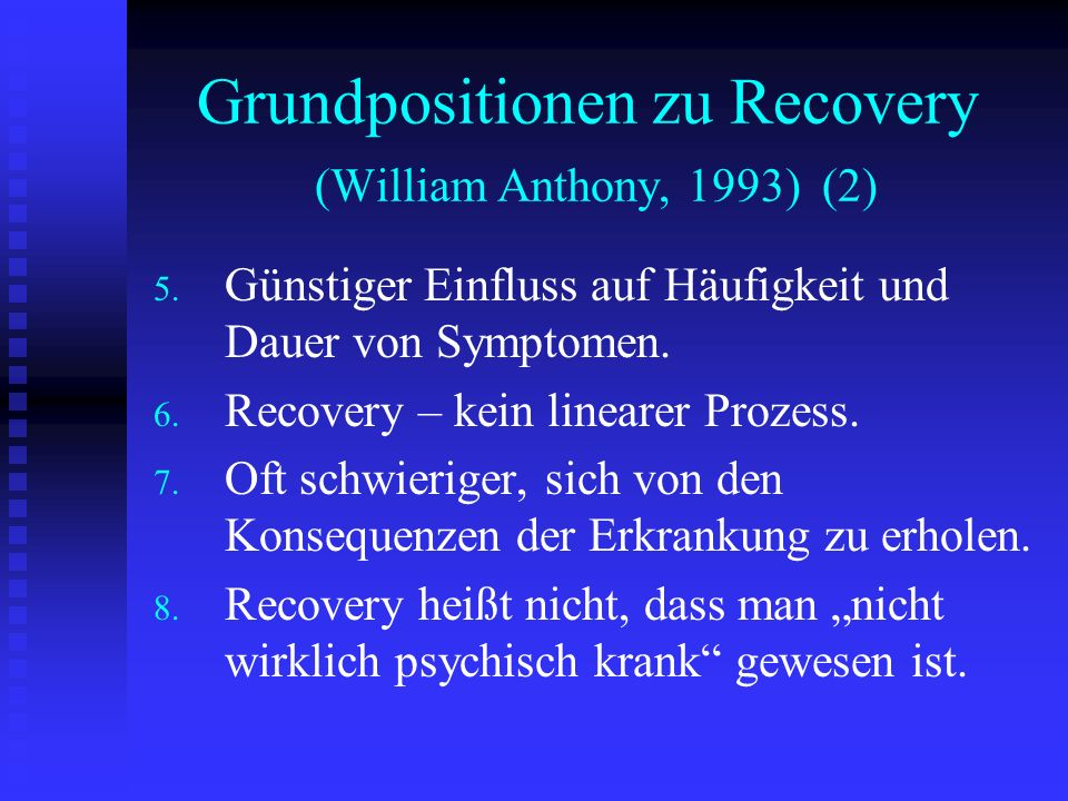 Grundpositionen zu Recovery (William Anthony, 1993) (2)