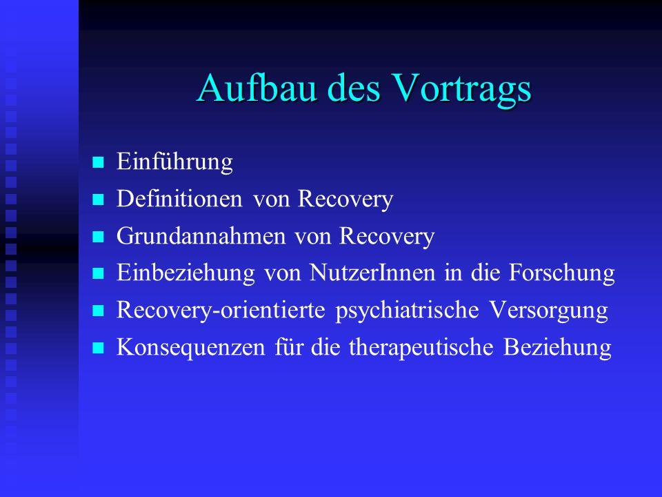 Aufbau des Vortrags Einführung Definitionen von Recovery