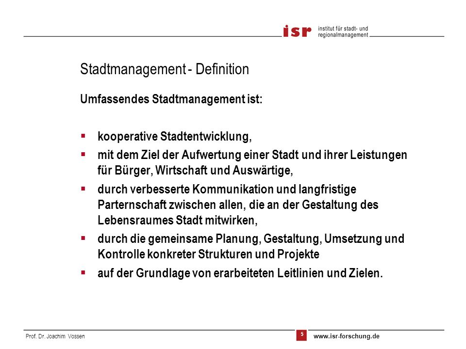 Stadtmanagement - Definition