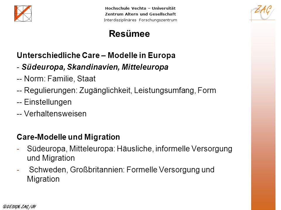 Resümee Unterschiedliche Care – Modelle in Europa