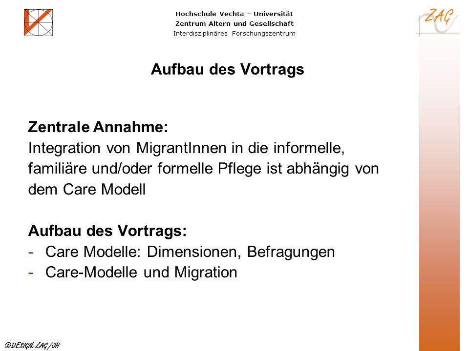Aufbau des Vortrags Zentrale Annahme: Integration von MigrantInnen in die informelle, familiäre und/oder formelle Pflege ist abhängig von.