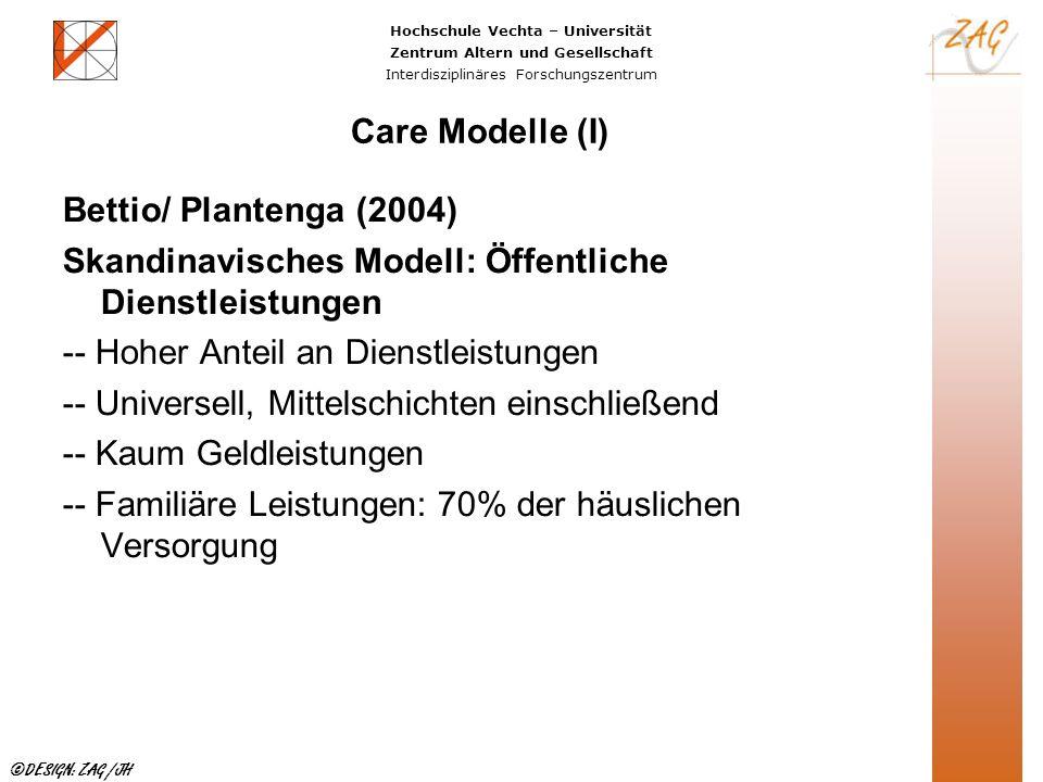Care Modelle (I) Bettio/ Plantenga (2004) Skandinavisches Modell: Öffentliche Dienstleistungen. -- Hoher Anteil an Dienstleistungen.