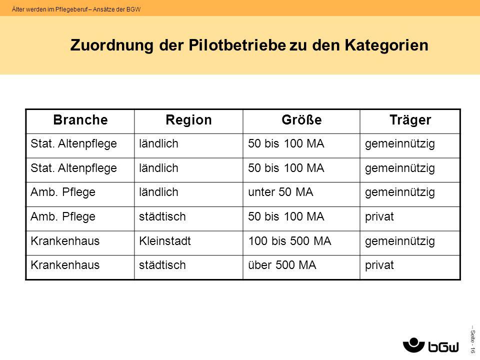 Zuordnung der Pilotbetriebe zu den Kategorien