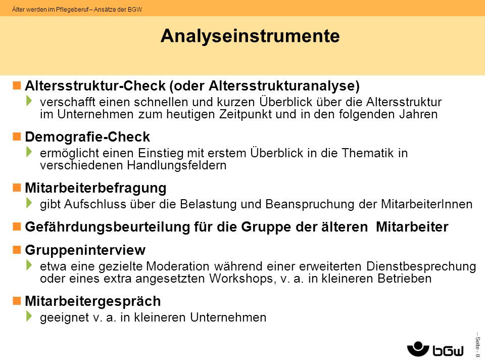 Analyseinstrumente Altersstruktur-Check (oder Altersstrukturanalyse)