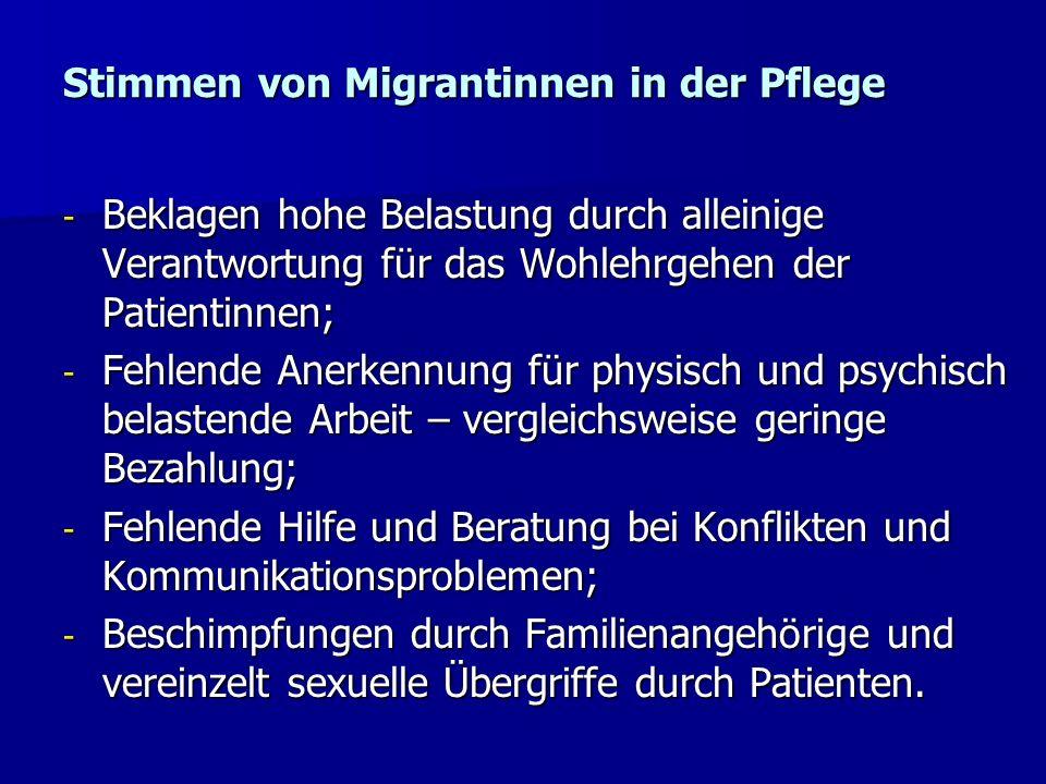 Stimmen von Migrantinnen in der Pflege