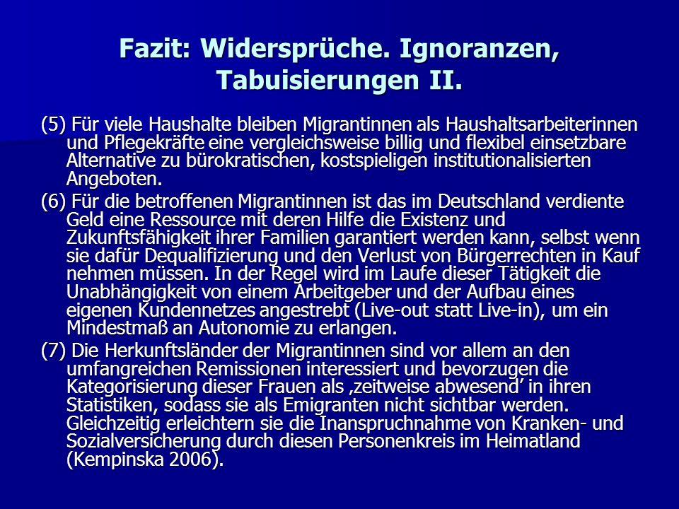Fazit: Widersprüche. Ignoranzen, Tabuisierungen II.
