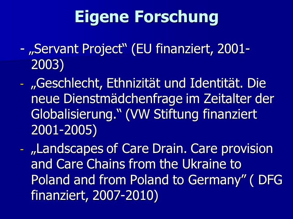 """Eigene Forschung - """"Servant Project (EU finanziert, 2001-2003)"""