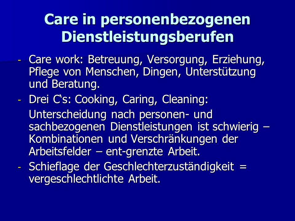 Care in personenbezogenen Dienstleistungsberufen