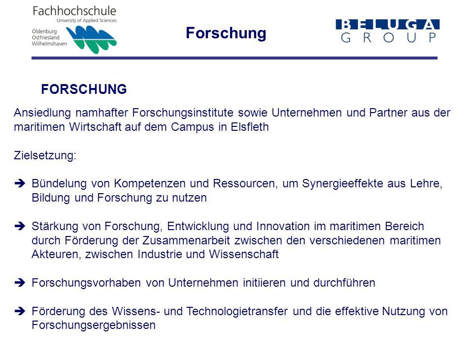Forschung FORSCHUNG. Ansiedlung namhafter Forschungsinstitute sowie Unternehmen und Partner aus der.